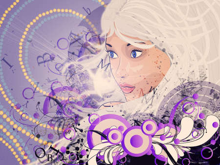 Illustration of beautiful girl with white hair and floral on violet background. Stock Illustration - 17162771