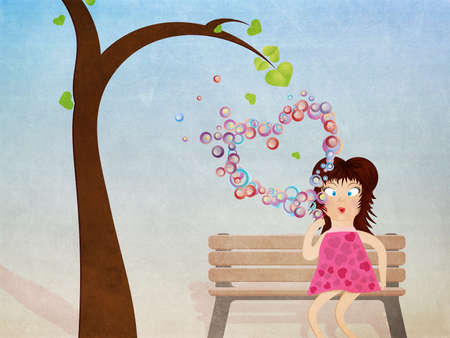Grunge illustration of cartoon girl in pink dress on bench with heart shaped bubbles. illustration