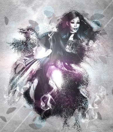 Illustration of a girl with black ravens grunge background. illustration