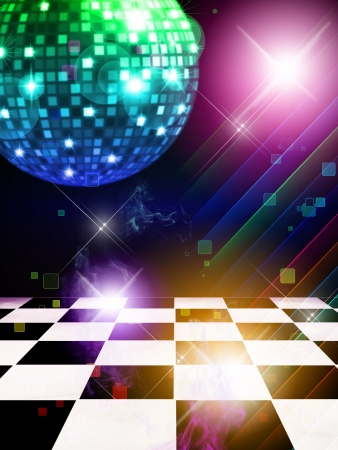 Illustration of dance floor with disco mirror ball and stars background.