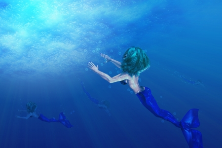 Illustration of beautiful mermaid in underwater scene Stock Illustration - 17251645