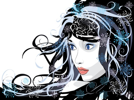 Illustration of abstract portrait of winter girl background. Vector