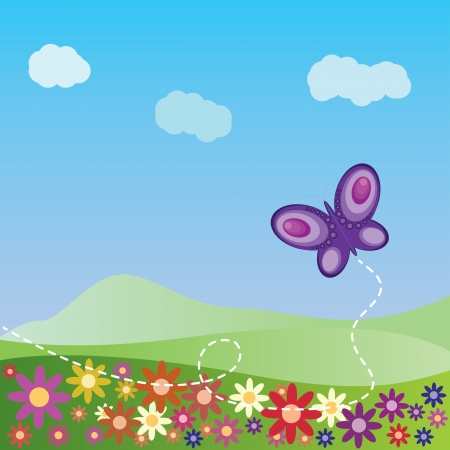Illustration of summer landscape with flowers and butterfly background. Vector