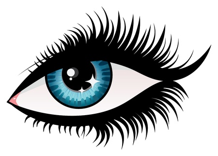 brown eyes: Illustration of woman eye with long eyelashes.