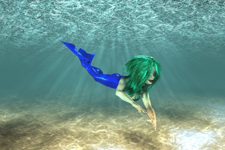 Illustration of beautiful mermaid in underwater scene illustration