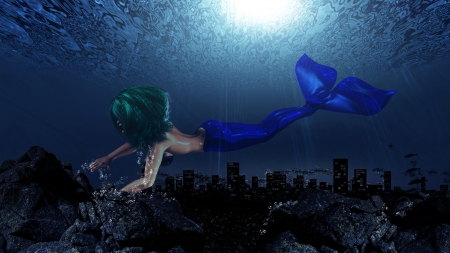 Illustration of beautiful mermaid in underwater world background. illustration