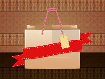 Illustration of shopping bag with red ribbon on vintage background. illustration