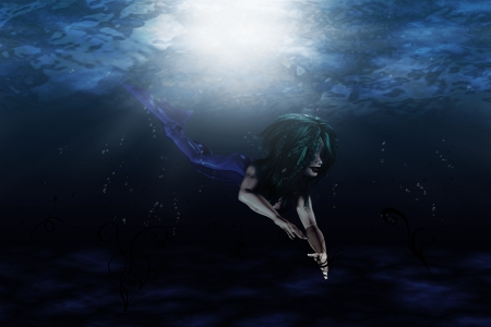 Illustration of beautiful mermaid in underwater scene Stock Illustration - 17330140