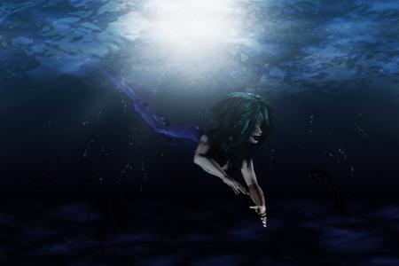 Illustration of beautiful mermaid in underwater scene Stock Illustration - 17330140