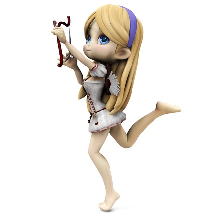 3D digital render of a lovely cartoon cupid girl on white background.