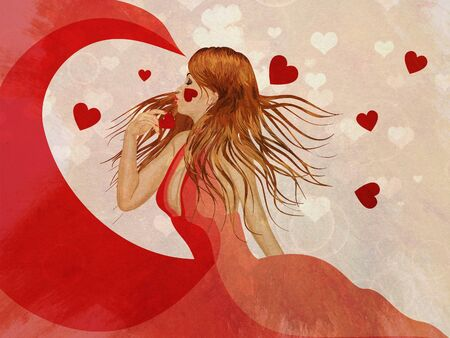 Illustration of a beautiful girl in long red dress with hearts grunge background. illustration