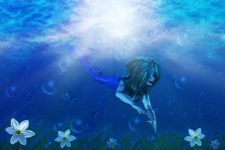 Illustration of beautiful mermaid in underwater world background. Stock Illustration - 17337443