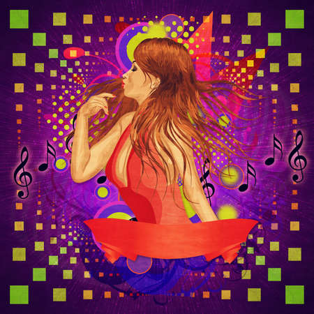 Illustration of abstract music poster with a girl in red dress and ribbon. illustration