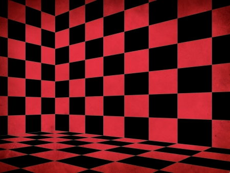 Illustration of grunge red checkered chess room corner background. illustration