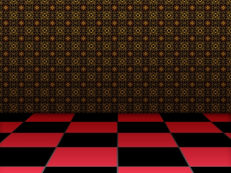 Illustration of retro checkered room with wallpaper background. illustration