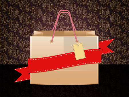 Illustration of shopping bag with red ribbon on vintage background. illustration