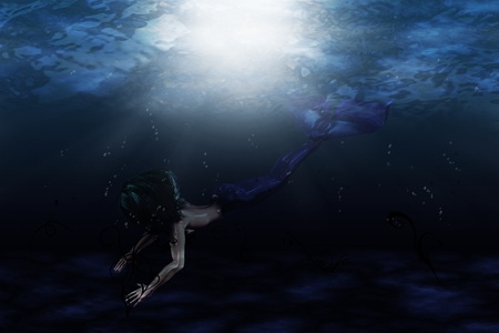 Illustration of beautiful mermaid in underwater scene Stock Illustration - 17354334