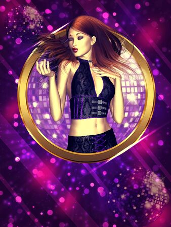 Disco party poster with a girl and disco ball background. photo