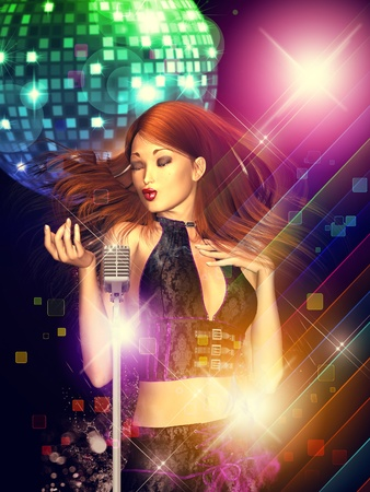 Illustration of a dancing girl with retro microphone and disco ball. illustration