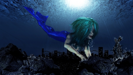 Illustration of beautiful mermaid in underwater world background. Stock Illustration - 17375312