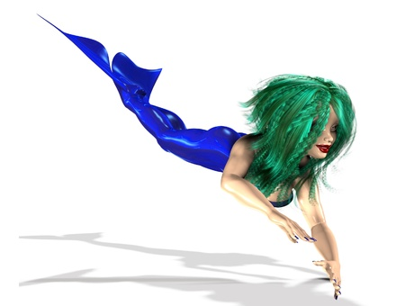 3D digital render of mermaid with green hair over white background. Stock Photo - 17375296