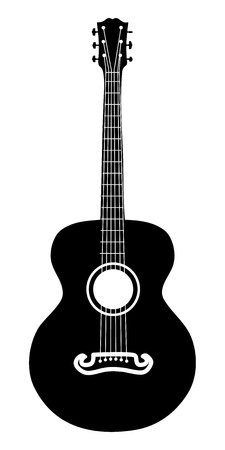 Retro acoustic guitar six strings silhouette illustration.
