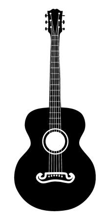 guitarra acustica: Retro guitarra acústica seis cuerdas silueta ilustración. Vectores