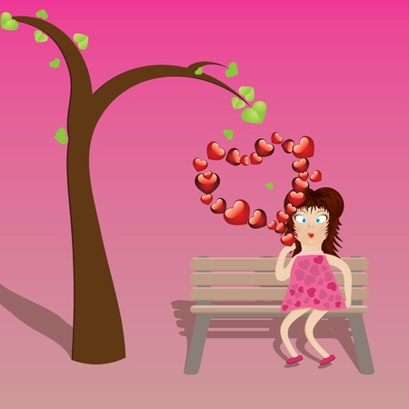 Cartoon girl in pink dress on bench with red heart shaped bubbles. Stock Vector - 17386799