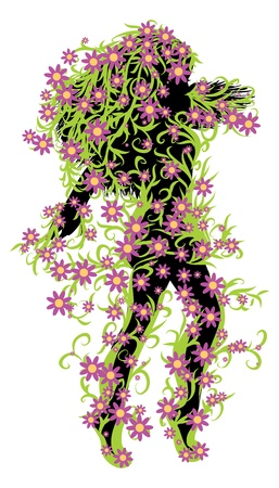 Illustration of female silhouette with green floral and pink flowers. Stock Vector - 17386800