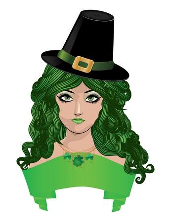 Illustration of girl with green hair and black hat, leprechaun girl. Stock Vector - 17386798