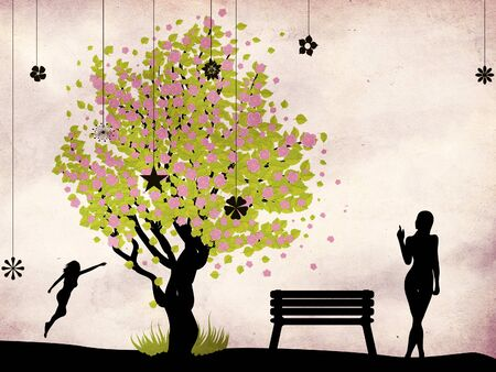 Illustration of cherry blossom tree, bench and woman on grunge background. Stock Illustration - 17412558