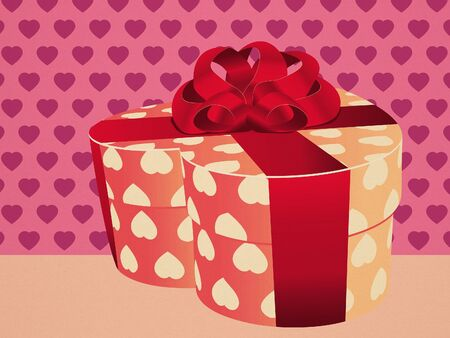 Illustration of heart shaped pink gift with bow. illustration