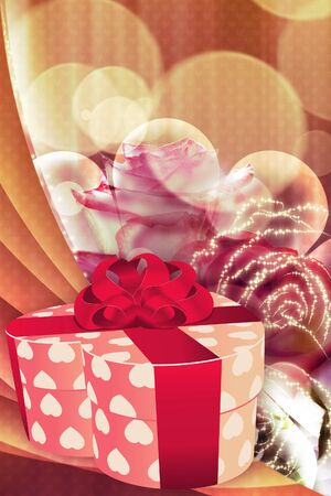 Illustration of pink heart shaped gift box on holiday background with roses. illustration