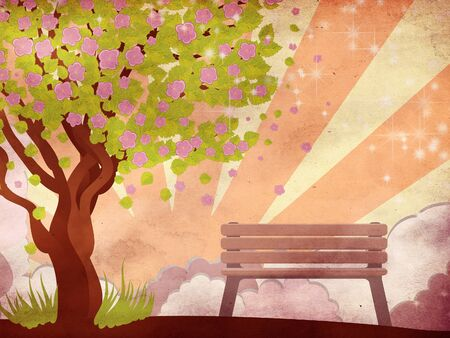 Illustration of cherry with pink blossom, sakura tree and bench on grunge background. Stock Illustration - 17449484