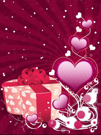 Illustration of Valentines day background with hearts and gift box. illustration