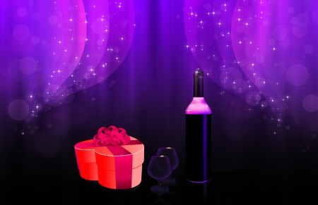 Illustration of two glasses, a wine bottle and heart shaped gift box. illustration