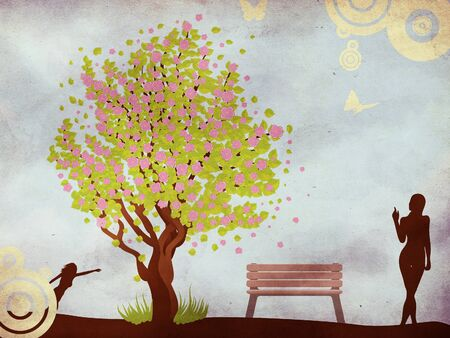 Illustration of cherry blossom tree, bench and woman on grunge background. illustration
