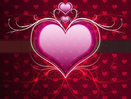 Illustration of pink heart with flourish, vanetine background. illustration