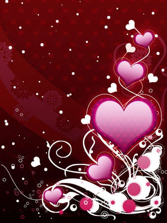 Illustration of pink hearts with flourish, vanetine background. illustration