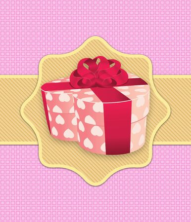 Illustration of heart shaped gift box on pink background. illustration