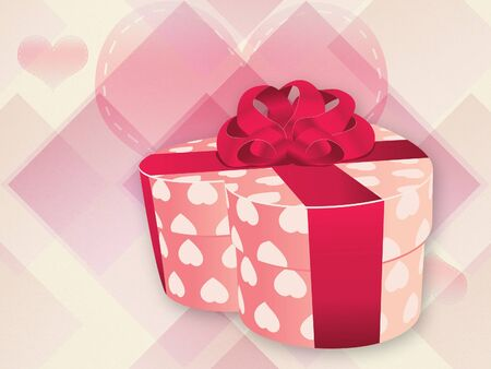 Illustration of opened heart shaped gift box on abstract background. illustration