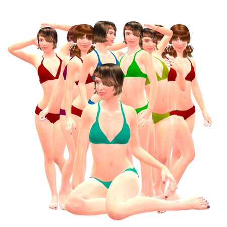trashy: Digital render of a beautiful women in bikini on white background. Stock Photo
