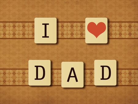 Illustration of I love dad message on tiles, paper background. illustration