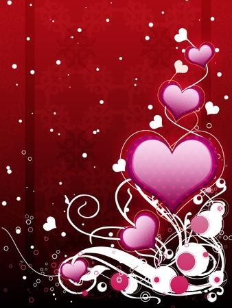 Illustration de coeurs roses avec s'épanouir, fond vanetine. Banque d'images - 17503670