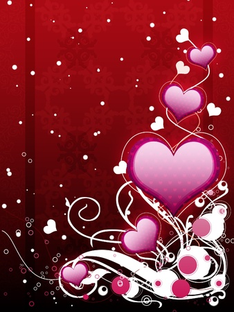 Illustration of pink hearts with flourish, vanetine background. Stock Photo