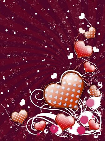 Illustration of red hearts with flourish, vanetine background. illustration