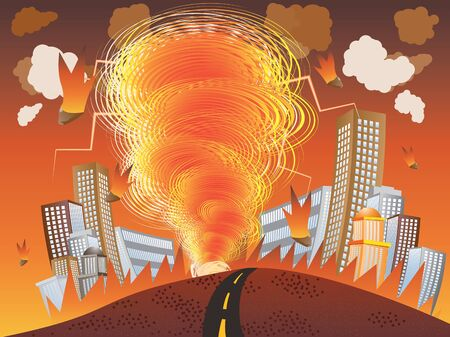 meteors: Illustration of fire vortex, tornado with meteors in the city background.