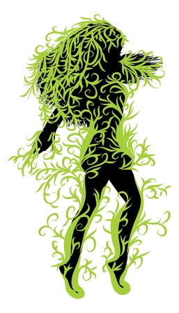 Illustration of female silhouette with green floral. Vector