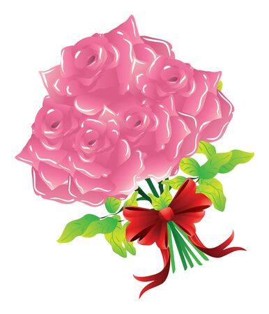 Illustration of pink roses with red bow on white background. Vector