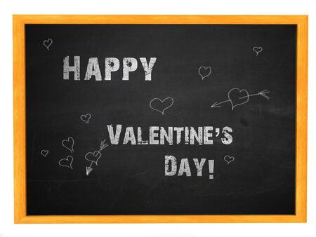 Illustration of happy valentine day phrase white chalk handwriting on blackboard. illustration